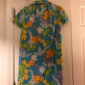 Vintage Dresses - Vintage 60s 70s Zip Up Flower Power Mini Dress